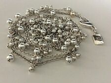 Ralph Lauren Silver Tone Dangle Beaded Long Chain Necklace 36""
