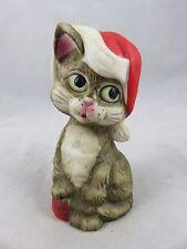Vtg Jasco - Santa Claus Cat Figurine Christmas Bell - Critter Bells - Bisque