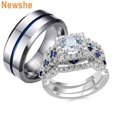 Size 6 Men's Tungsten Bands Size 12 Newshe Couple Set Women's Wedding Rings Set