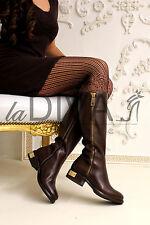 Napoleoni ~ Italy cuero de diseño bota botas 36 moca marrón decorativas Zipper oro