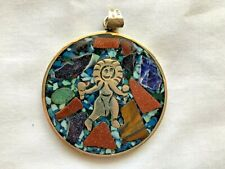 Brooch Navajo Indian Jewelry 2-Sides Mexico Turquois Sterling Silver 925 Pendant