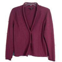 Eileen Fisher Women Size M Petite Merino Wool Plum Cardigan Button Sweater Knit