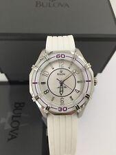 Bulova 96L144 Women's Solano Marine Star Sport White Rubber Strap MOP Dial Watch