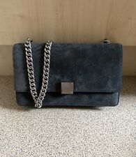 Céline Phoebe Philo Grey Suede and Leather Case Shoulder Bag With Chain