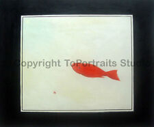"Gold Fish White Square, Original Handmade Oil Painting on Canvas, 36"" x 30"""