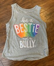Justice Be A Bestie Not A Bully Grey Colorful Tank Top Shirt Size 18/20