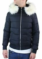 Mens Bomber Puffer Jacket Quilted Warm Winter Removable Fur Hood Pilot