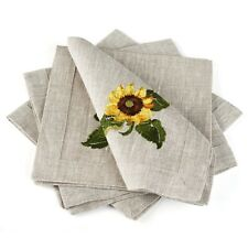 "Table Napkins / Set of 4 / Gray / Sunflowers / 16""x16"" / 100% European Linen"