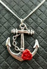 CUTE ROSE & ANCHOR NECKLACE ROCKABILLY PIN UP VINTAGE DERBY KITSCH 50'S NAUTICAL