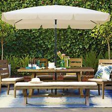2x1.25m Rectangle Garden Parasol Umbrella Patio Sun Shade Aluminium Crank Tilt