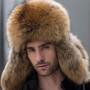 Men's Winter Real Fox Fur Hats Leather Russian Raccoon Fur Bomber Hat