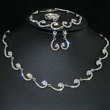 VF V450 Crystal 18K WGP Earrings Bracelet Necklace Set Party Gift Ring Size 7