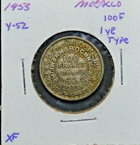 Morocco, 100F, Silver, 1953, Y-52