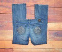 """Express X2 Womens Stella Jeweled Boot Cut Medium Wash Jeans Sz 4 (29"""" W x 31"""" L)"""