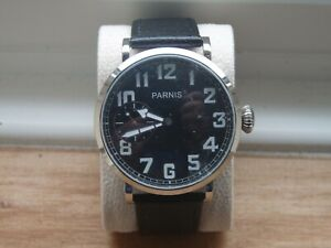 PARNIS 46mm 6497 type movt. Watch Black dial Military Omega homage styling