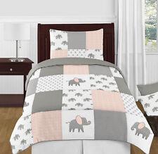 Girls Blush Pink Grey White Watercolor Elephant Safari Twin Kid Bedding Set