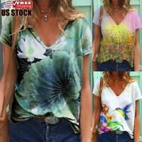 US Womens V Neck Short Sleeve Loose Floral T Shirt Ladies Summer Tops Blouse Tee