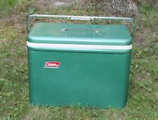 Vintage Coleman Green Camping Cooler White Lid Very Nice Clean