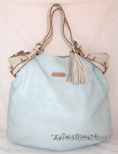 Cynthia Rowley Leather Bag Purse Tote Shopper Python Genuine Aqua Tassel New