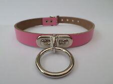 14-17 inch pink  leather collar large o ring  fetish bondage , 15mm wide