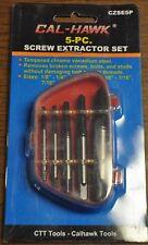 New Cal-Hawk 5 Piece Easy Out Screw Bolt Extractor Remover Set Kit Extractors