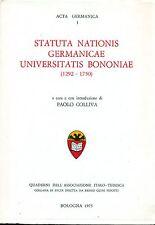 COLLIVA, Statuta Nationis Germanicae Universitatis Bononiae, (1292-1750), 1975