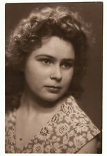 New listing Vintage snapshot photo beautiful woman girl Russia USSR curly hair style *8889F