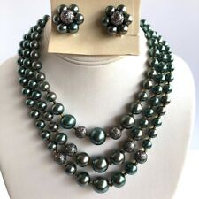 Dark Gray Green Multi Strand Necklace Earring Set New Old Stock Bead 50s VTG