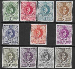 SWAZILAND 1938-54 SET (11) MH. ALL CHEAPER PERFS EXCEPT 5/-. SG.28a-38a. (2178)