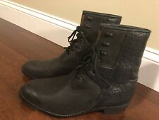 "ARIAT Lace Up Roper Work Boots Black Mens 10.5  8"" Ankle Support ATS Exe Cond."