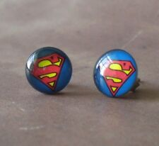 DC Comics Superman Logo Blue & Red 316L Surgical Steel 10mm Stud Earrings
