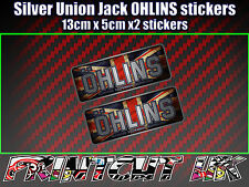 2x Ohlins Silver Union Jack Decals Stickers Suspension, Bike, Shock, motorcycle