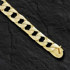 "10kt solid gold handmade Curb Link mens bracelet 9"" 33 grams 13MM"