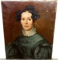Princesse Augusta Amelie ? Belle Grande Peinture HST vers 1830-1840 Napoleon