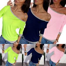 Mujer Hombro Descubierto Jersey Camiseta Manga Larga De Algodón Suéter Camisa