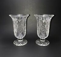 """7"""" Clear Hurricane Footed Taper Candle Holders Pedestal Vase Heavy Set of 2"""