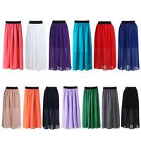 Women Retro Chiffon Pleated Double Layer Elastic Waist Long Maxi Skirt Sun Dress