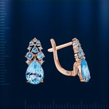 Russian solid rose gold 585 /14k awesome pear cut blue topaz, CZ earrings NWT
