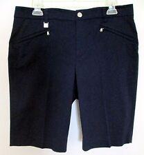 Ralph Lauren - 8 - Navy blue 2 slant front & 1 back pocket knee length shorts