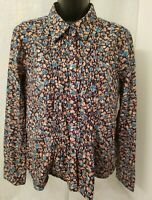 Faded Glory Womens Blue Brown Floral Button Down Shirt Top Blouse Size L 12 14