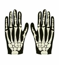 Children & Adult Halloween SKELETON GLOVES Bone Costume Fancy Dress Accessory UK