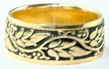 Vintage New 14K Gold 8Mm Wide Leaf & Berries Berry Wedding Band Ring Size 7.5