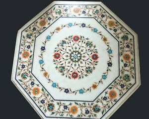 30 Inches Marble Coffee Table Top Pietra Dura Art Sofa Table from Cottage Art