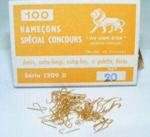 Boite de 100 anciens Hameçons AU LION D'OR N°20 Spécial Concours Dorés à palette
