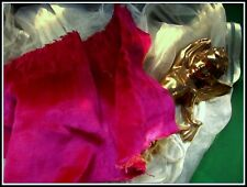 HEAVENLY SOFT ANTIQUE FRENCH LATE TEEN RICH FUCHSIA PINK SILK VELVET TRIM FRAG