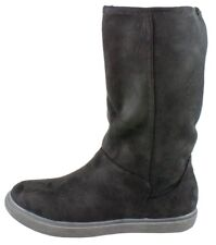 WOMENS GIRLS INSULATED WARM BOOTS FLAT BLACK FAUX SUEDE WINTER CALF SCHOOL SHOES