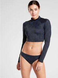 NWT Athleta M Dress Blue /Black Snake Crop Rash Guard Wicking Quick Dry Swim