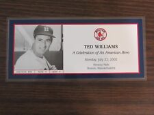 Ted Williams commutative ticket 7-22-02 from Ted Williams day Boston Red Sox