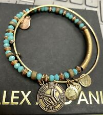 Alex And Ani Set Of Two.. NYC & Blue Bead Wood Cuff
