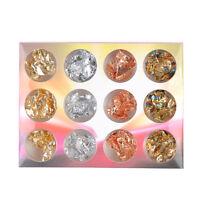 12 Pcs Nail Art decorations metal foil leaf flakes wraps - gold, silver